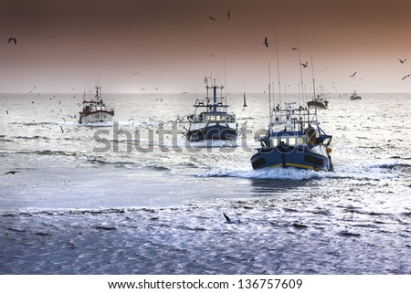 Tired fishing fleet getting back, France near the Atlantic ocean