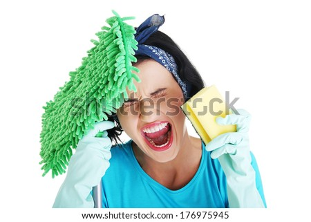 Tired frustrated and exhausted cleaning woman screaming , isolated on white - stock photo
