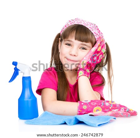 tired girl with equipment for cleaning the house. isolated on white background - stock photo