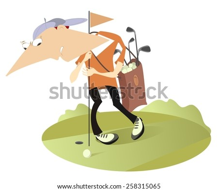 Tired golfer holds the golf flag   - stock photo