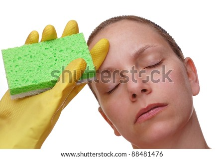 Tired Housewife Cleaning Lady - stock photo