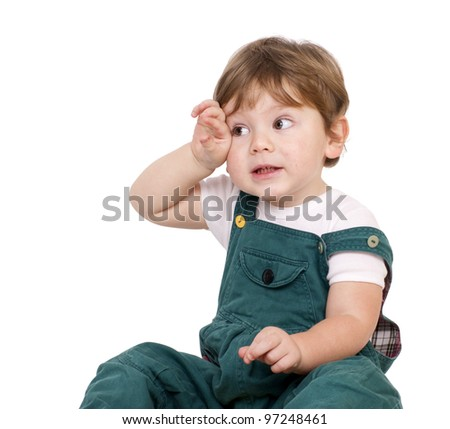 Tired little boy. Isolated on white. - stock photo