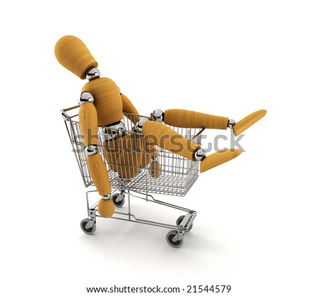 Tired mannequin laying in shopping cart totally shopped out - stock photo
