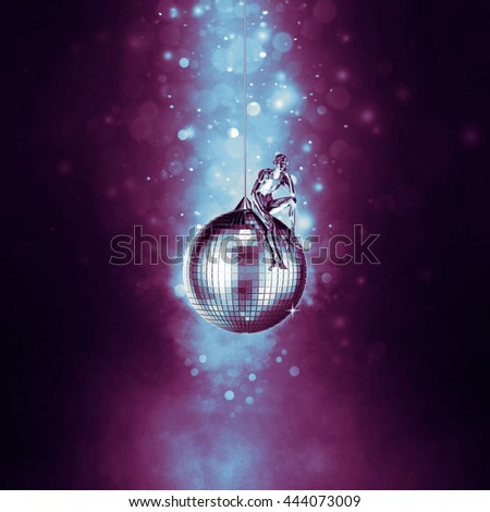Tired of disco / 3D illustration of sad male figure sitting on mirror disco ball