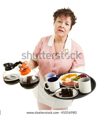 Tired, overworked waitress trying to carry too many things. Isolated on white. - stock photo