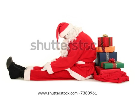 Tired Santa Claus - stock photo