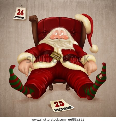 Tired Santa Claus the day after Christmas - stock photo