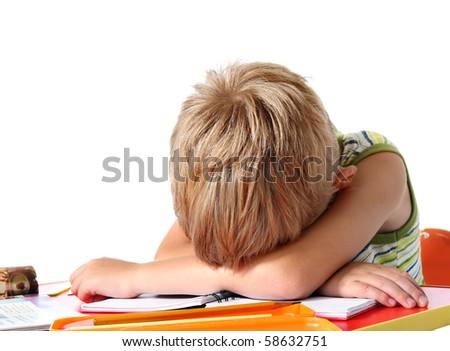 Tired school boy - stock photo