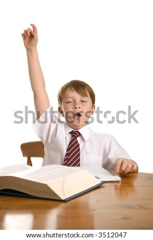 Tired schoolboy with his hand up, isolated on white. - stock photo