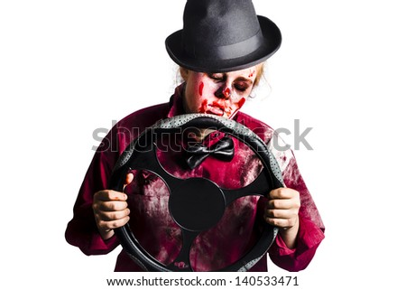 Tired sleeping dead woman holding a vehicle steering wheel. Driver fatigue concept - stock photo