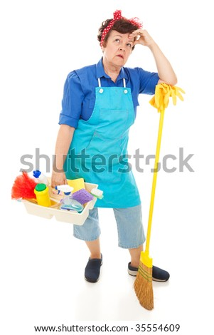 Tired, unhappy cleaning lady.  Full body isolated on white.