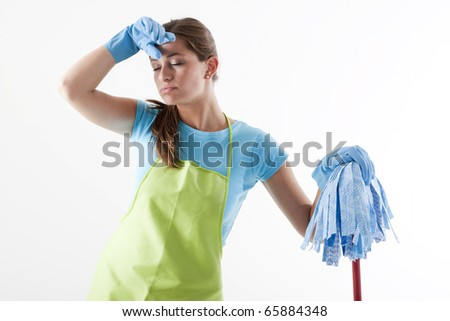 Tired Woman Doing the Cleaning, white background