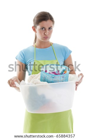 Tired Woman Doing the Laundry, white background