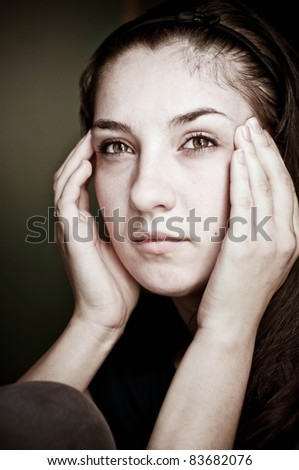 Tired woman portrait - stock photo