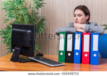 Tired woman stressed with too much work - stock photo