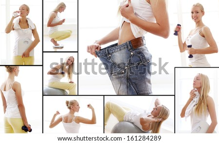 Tired woman with towel after fitness workout - stock photo