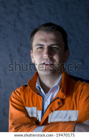 Tired worker hardly keeping his eyes open