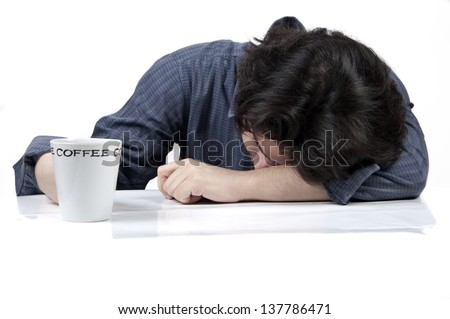 Tired worker isolated on white background - stock photo