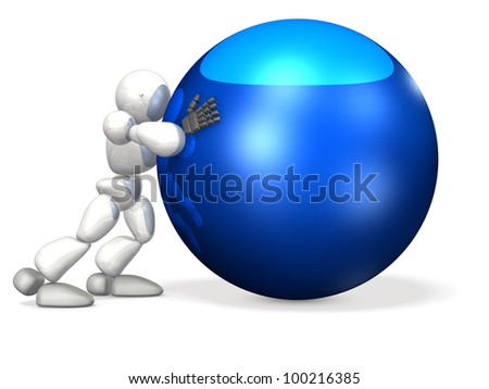 Tireless humanoid roll the heavy ball. This is a computer generated image,on white background. - stock photo