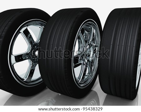 tires and rims on a white background - stock photo