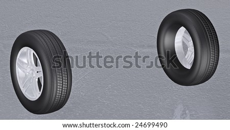 Tires 3d concept illustration - stock photo