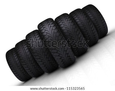 Tires Formation Isolated on White Background - stock photo