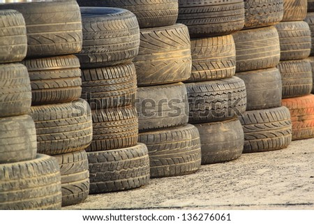 Tires from race track - stock photo