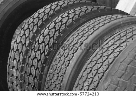 Tires in a row - stock photo