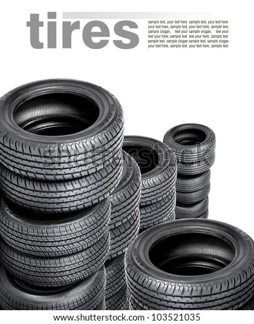 Tires isolated on white background - stock photo