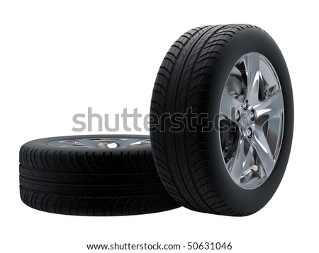Tires isolated on white background. - stock photo