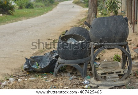 Tires made from trash on the streets. - stock photo
