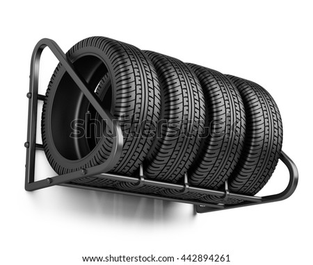 tires set for sale at a tire store on the wall 3d image isolated on