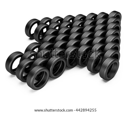 Tires stacked in the form of arrow UP. Conceptual  3d image isolated on a white background.