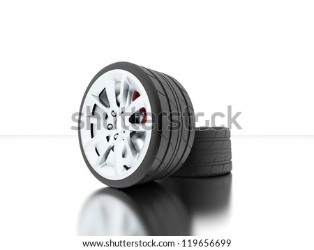 Tires with disc highlights isolated - stock photo