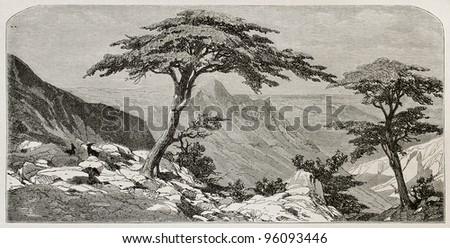 Tirourda hill old view, Kabylia, Algeria. Created by Duhousset, published on Le Tour Du Monde, Paris, 1867 - stock photo