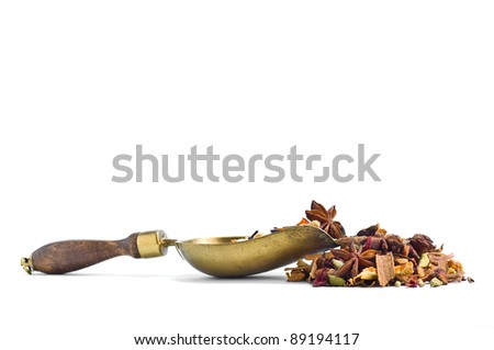 Tisane ingredients. Herbal tea with leaves, fruits and herb on a white background - stock photo