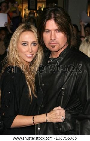 Tish Cyrus and Billy Ray Cyrus  at the World Premiere of 'Bolt'. El Capitan Theatre, Hollywood, CA. 11-17-08 - stock photo