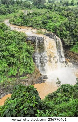 Tiss abay Falls on the Blue Nile river, Ethiopia - stock photo