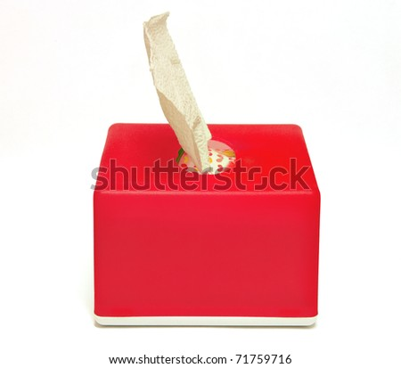 Tissue box isolate on white background - stock photo