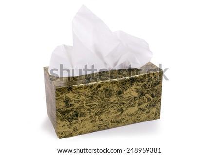 Tissue box, isolated on white. - stock photo