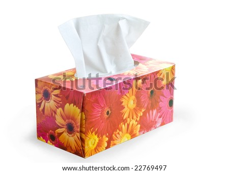 Tissue box isolated on white (with clipping path) - stock photo