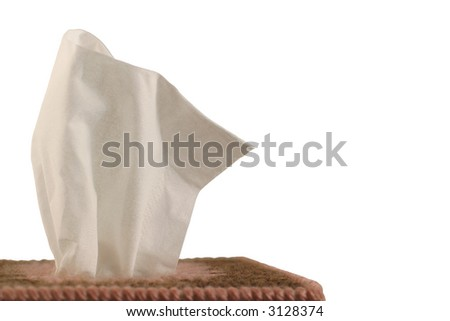 Tissue Box - white background - close-up of paper handkerchief in a decorative plastic canvas box isolated on white. - stock photo