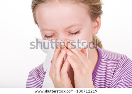 Tissue - illness, runny nose and blowing nose - stock photo