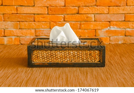 Tissue paper box made by basketry bamboo    - stock photo
