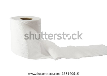 tissue roll on white background - stock photo