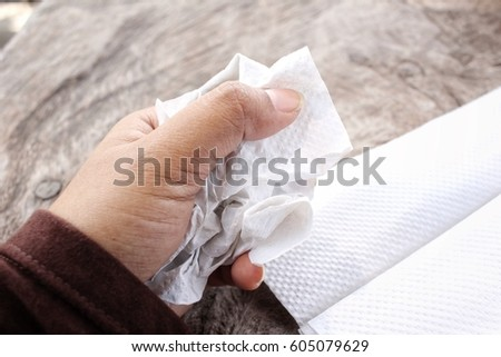 Tissues paper on hand