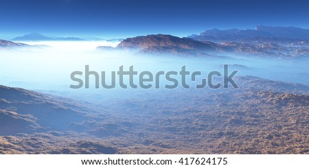 Titan, largest moon of Saturn with atmosphere. Surface landscape of Titan. 3D - stock photo