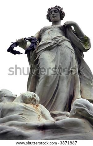 Titanic victims' memorial statue in Belfast - stock photo