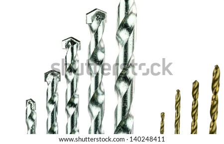Titanium coated drill bit set and Masonry drill bit set - stock photo