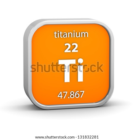 Titanium material on the periodic table. Part of a series. - stock photo